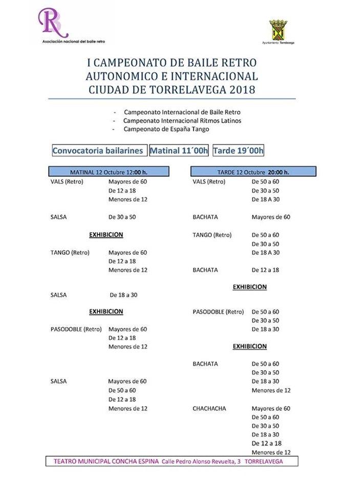 Actualidad Actualidad Cuadrante de horarios y de competiciones del I Campeonato de Baile Retro Autonómico e Internacional Ciudad de Torrelavega 2018